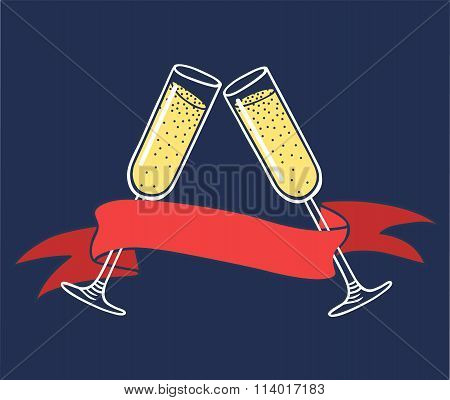 Champagne glass, ribbon vector illustration