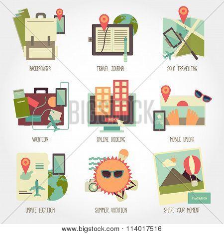 Traveling flat design icon set