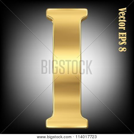 Vector letter I from gold solid alphabet. Eps 8 using mesh.