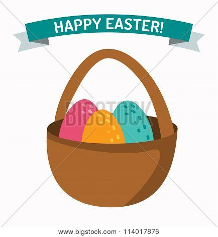 Basket with easter eggs isolated on white background