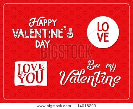 Happy Valentines Day Lettering Isolated On Red Background With Hearts. Valentine Logo Elements For Y