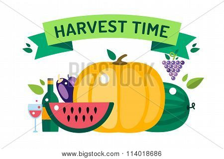 Harvest time food icons illustration