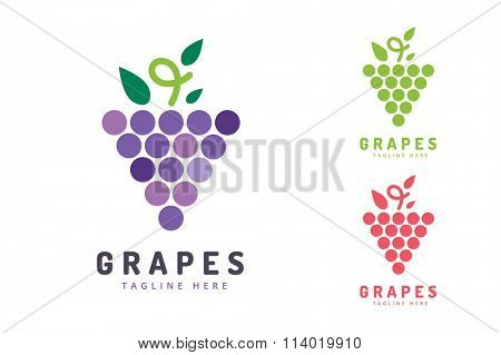 Grapes isolated. Grapes icon. Grapes logo. Grapes wine or grapes vine. Grapes with green leaf isolated. Nature grapes logotype. Wine or vine logo icon. Fruits and vegetables. Grapes icons
