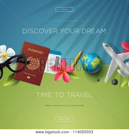 Discover your dream, time to travel, website template, vector illustration.