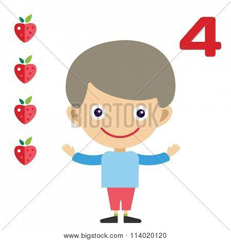 Cartoon boy learning game card. Education math cards with fruits and vegetables. Kids boy help to kids learning numbers. Kids school materials. Easy count game. Boy earning funny numbers
