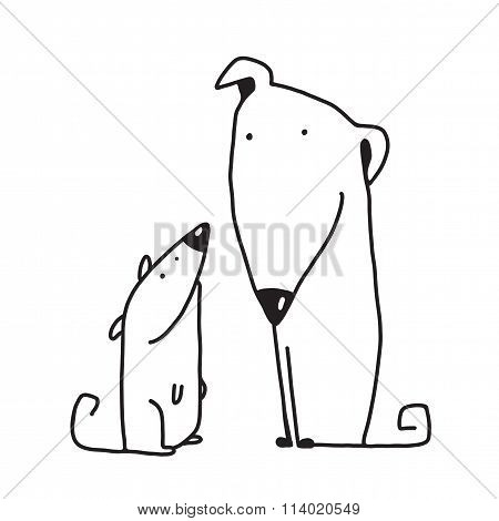 Two cartoon brown dog parent and kid