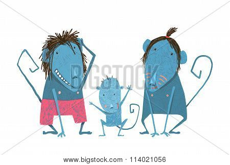 Funny Monkey Family Hand Drawn Cartoon Father Mother and Child