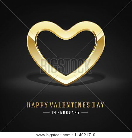 Golden Heart Valentines day Greeting Card vector background. Good for Valentines day invitation, Valentine card, Valentines day background.
