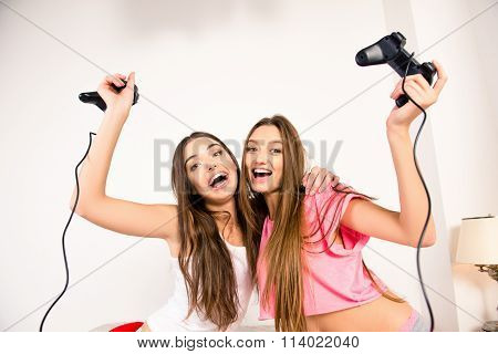 Cheerful Attractive Girls Playing Video Games