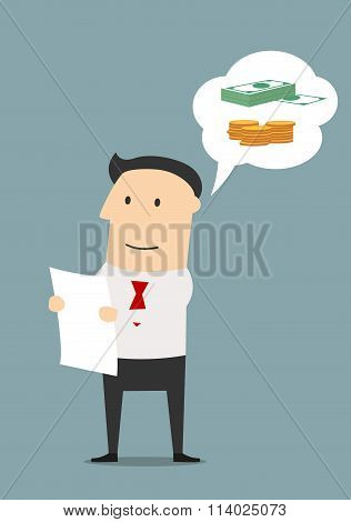 Businessman reading contract and dreaming