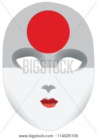 Abstract Face Mask With The Flag Of Japan