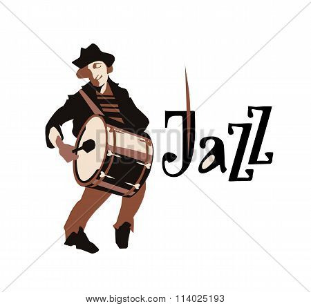 Man playng drums. Street musican. Jazz inscription. Vector illustration.