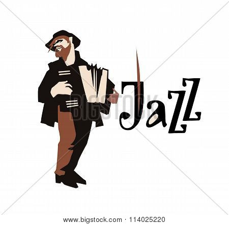 Man playng accordione. Street musican. Accordionist. Jazz inscription. Vector illustration.