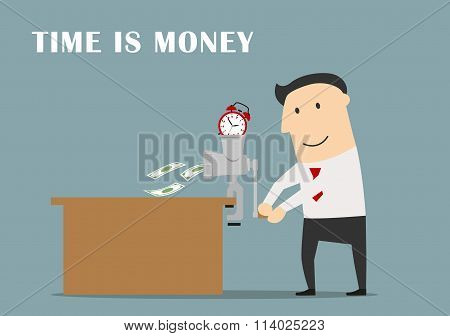 Businessman is making money from a clock