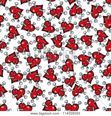 Cartoon red hearts pierced by nails pattern