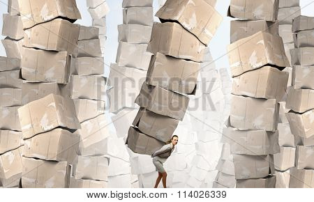 Woman with carton boxes
