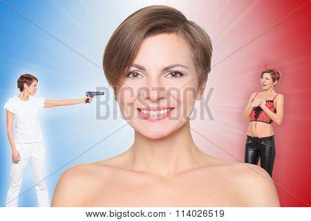 concept, angel and demon. portrait of smiling girl. Angel kills the evil