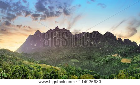 Beautiful Green Mountains Hills And Cloudy Blue Sky, Chiangdao Hill, Thailand