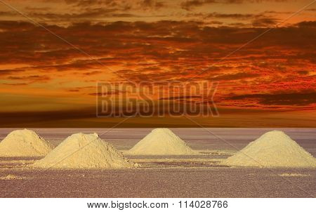 Salt Lakes Bolivia In The Sunset