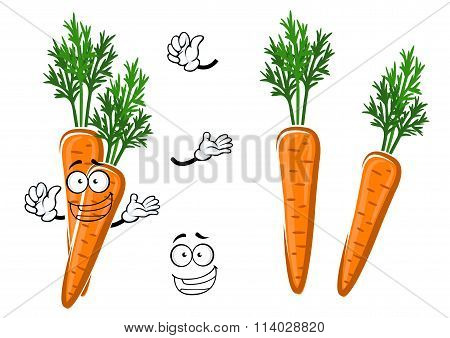 Cartoon ripe orange carrot vegetable