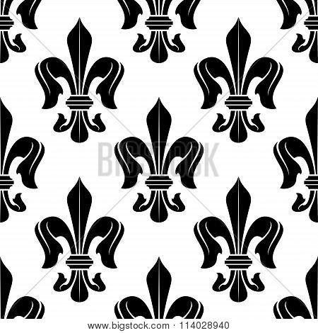 Black and white fleur-de-lis floral pattern
