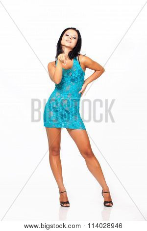 Beautiful dancer isolated on white