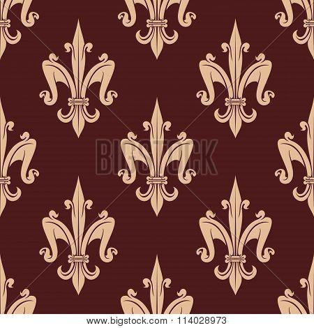 Medieval beige fleur-de-lis floral pattern