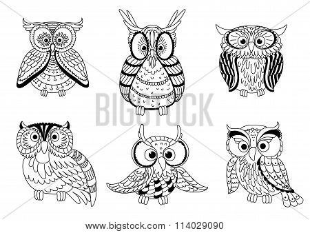 Cartoon cute outline owls and owlets birds