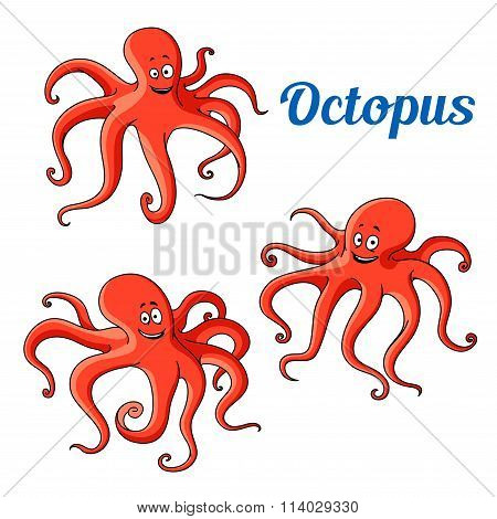 Funny and joyful cartoon red octopuses