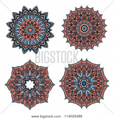 Circular floral patterns with red and blue flowers