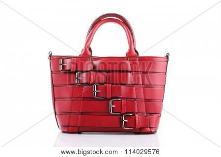lovely red handbag on white background