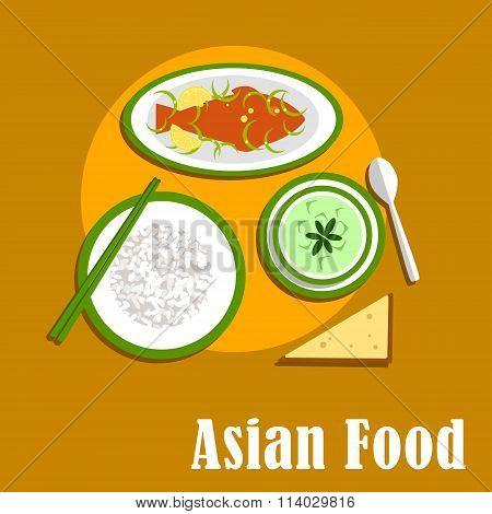 Asian dinner dishes of thai cuisine
