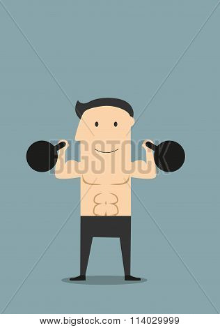 Smiling athlete lifting black kettlebells