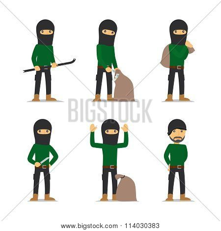 Criminal man. Burglar and thief vector character.