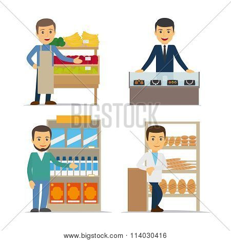 Seller at the counter vector illustration
