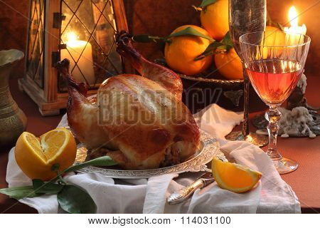 Roast Chicken With Oranges And Red Wine