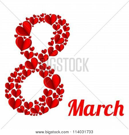 8 March. Red Heart In The Form Of Eight On A White Background.
