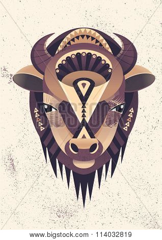 Vector Poster With Bison Head
