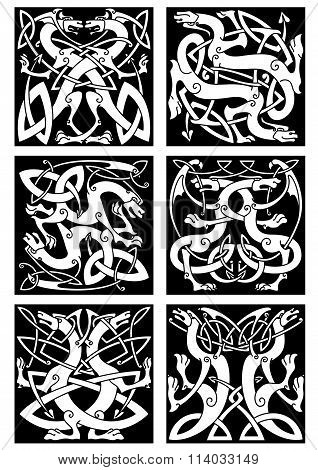 Magic dragons celtic knot patterns in tribal style