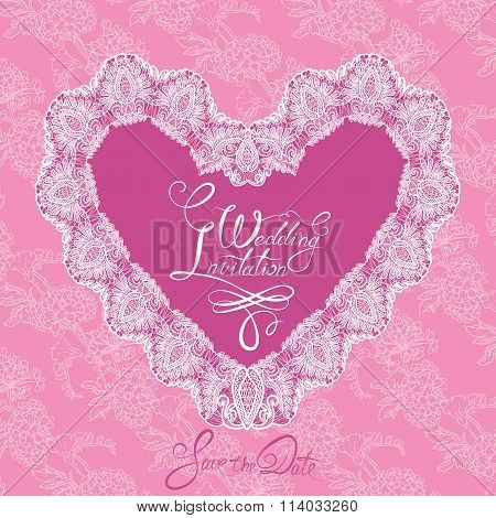 White Heart Shape Is Made Of Lace Doily On Pink Floral Background, Wedding Invitation Card With Call