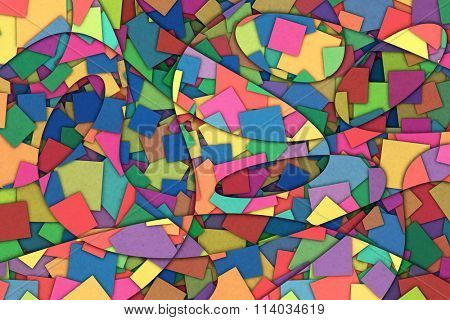 A Cubist Abstract Background with Scattered Squares and Swirling Lines