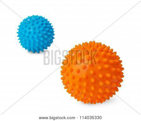 Plastic Orange And Blue Massage Balls