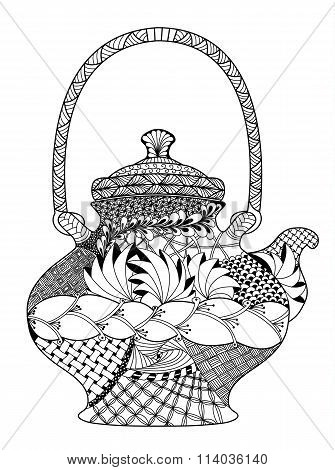 Teapot, highly detailed illustration in zentangle style