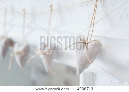 Handmade Textile  White  Heart  On A White Background, Rustic Style. Romance Consept