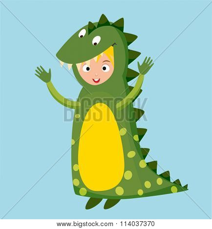 Dragon crocodile kid costume isolated vector illustration. Kids party costume vector isolated. Children party costume. Kids costume