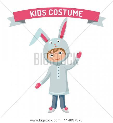 Greeting card Easter rabbit boy kid with basket vector illustration. Funny bunny easter rabbit. kid Easter Bunny greeting card. Easter illustration. Easter bunny cartoon flat style. Easter eggs flat