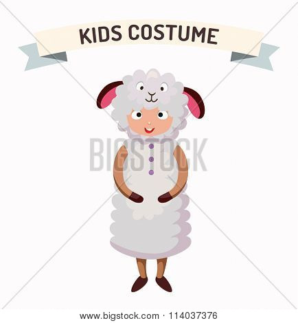 Sheep kid costume isolated vector illustration. Kids party costume vector isolated. Children party costume. Kids costume