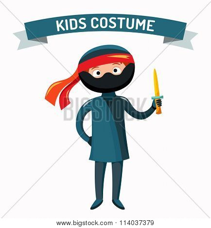 Ninja kid costume isolated vector illustration. Kids party costume vector isolated. Children party costume. Kids costume