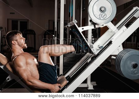 Muscular Man Doing Heavy Exercise