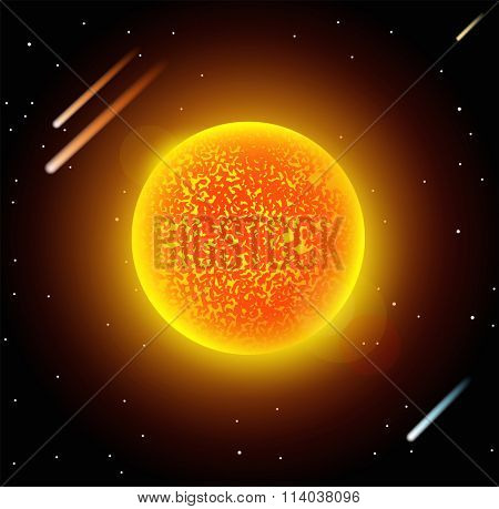 Sun star planet 3d vector illustration. Globe Sun star texture map. Globe vector Sun view from space. Sun star illustration. Geography vector Sun. Sun star silhouette, world map, 3d Sun